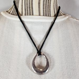 Jewelry - Black Leather Cord w/ Silvertone Pendant Necklace